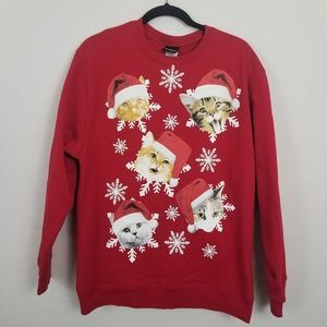 Fifth Sun Red Christmas Cats Ugly Sweatshirt
